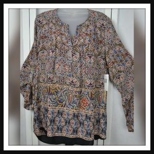 NWT Paisley Print Blouse By Gibson Latimer